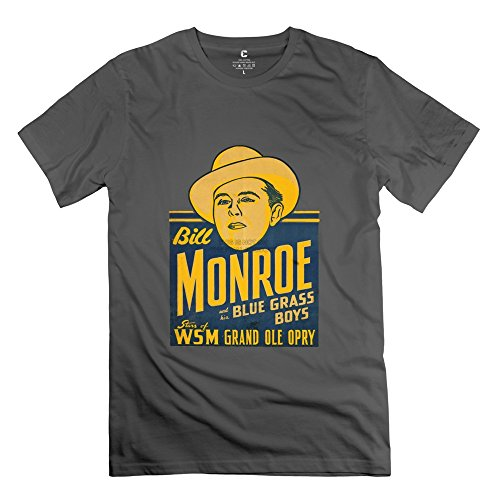 6983619589491 - CRYSTAL MEN'S BILL MONROE AND HIS BLUE GRASS BOYS SCREW NECK DESIGN T-SHIRT DEEPHEATHER US SIZE M