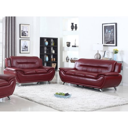 0700118104491 - UFE NORTON BURGUNDY FAUX LEATHER 2-PIECE MODERN LIVING ROOM SOFA AND LOVESEAT SET