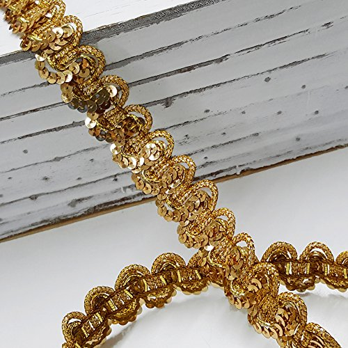 0701748583670 - 3/4 STRETCH ELASTIC BAND SEQUIN TRIM, BY 1 YARD, GOLD, BAD-05611