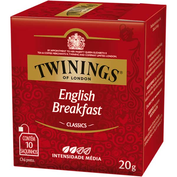 0070177197131 - CHÁ PRETO ENGLISH BREAKFAST TWININGS CLASSICS CAIXA 20G 10 UNIDADES
