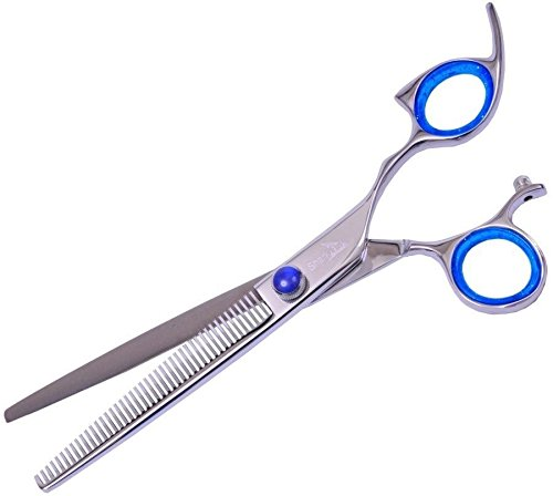 0702534484829 - SHARK FIN GROOMING - SILVER LINE 50 TOOTH NON-SWIVEL THINNING SHEAR