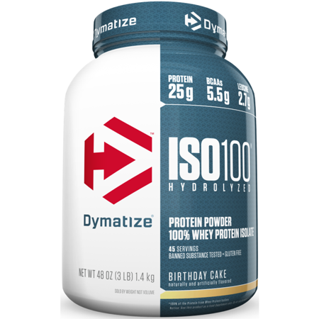 0705016353224 - DYMATIZE NUTRITION ISO-100 PRE-WORKOUT SUPPLEMENT, BIRTHDAY CAKE, 3 POUND