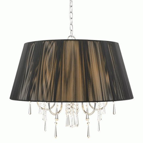 0706090160258 - CHROME WITH BLACK STRING SHADE TETIVA 5 LIGHT DRUM CHANDELIER 8201-5 BLK