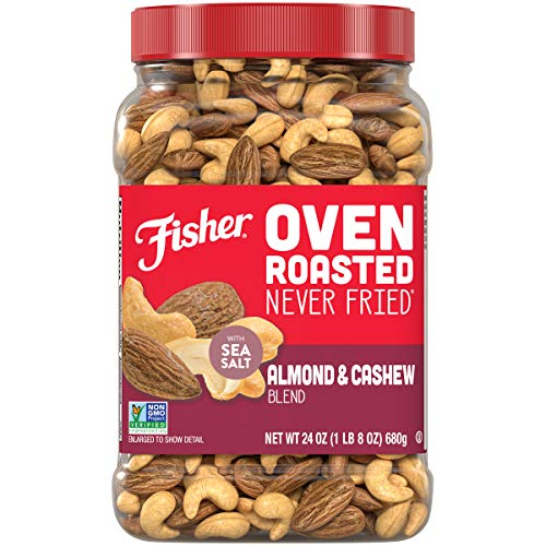 0070690270786 - FISHER SNACK OVEN ROASTED NEVER FRIED ALMOND & CASHEW BLEND, 24 OZ, MADE WITH SEA SALT