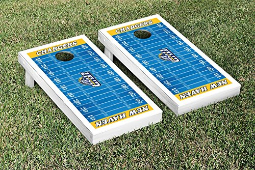 0707918926001 - UNIVERSITY OF NEW HAVEN UNH CHARGERS CORNHOLE GAME SET FOOTBALL FIELD VERSION