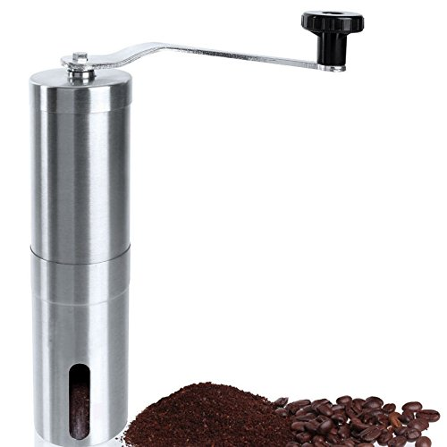 0709615975191 - SHELLMIMI MANUAL COFFEE & SEA SALT GRINDER WITH CERAMIC BURR STAINLESS STEEL HAND COFFEE MILL