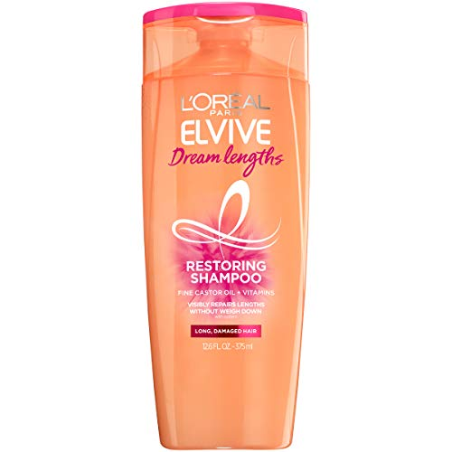 0071249383612 - L'OREAL PARIS ELVIVE DREAM LENGTHS RESTORING SHAMPOO WITH FINE CASTOR OIL & VITAMINS B3 & B5 FOR LONG, DAMAGED HAIR, VISIBLY REPAIRS DAMAGE WITHOUT WEIGHDOWN WITH SYSTEM, 12.6 FL. OZ