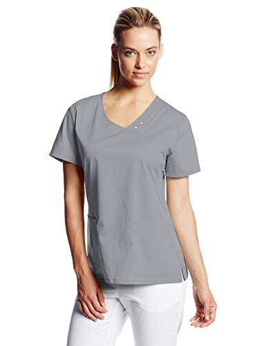 0716605347050 - CHEROKEE WOMEN'S LUXE CROSSOVER V-NECK PIN-TUCK TOP, GREY, XX-LARGE