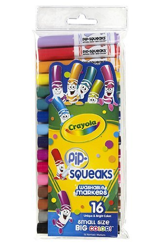 0071662087036 - CRAYOLA WASH PIP SQUEAKS MARKERS - BROAD LINE (16 COUNT)