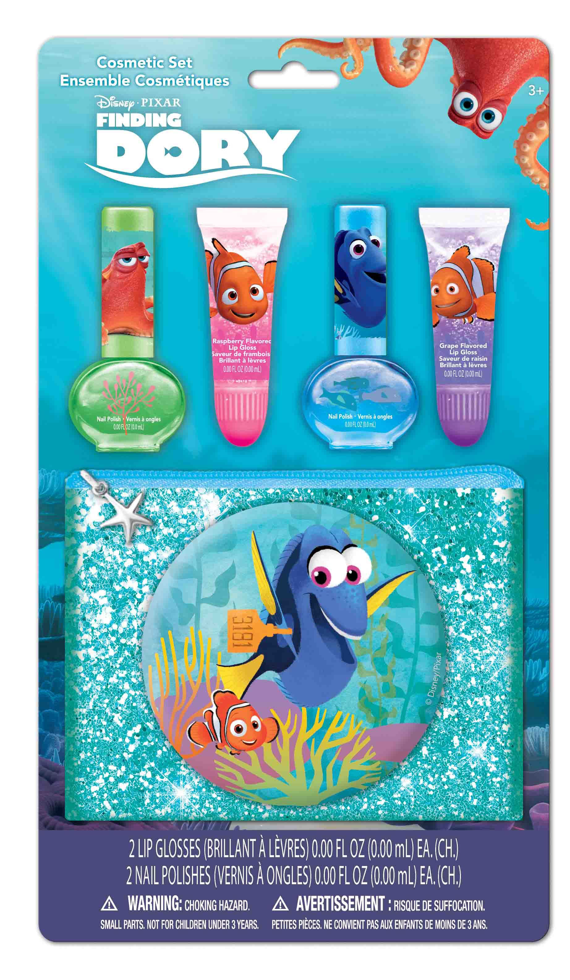 0719565363542 - FINDING DORY NAIL POLISH & LIP GLOSS COSMETIC SET W/ POUCH