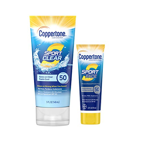 0072140028084 - COPPERTONE SPORT CLEAR SPF 50 SUNSCREEN LOTION, 5 OZ + SPORT FACE SPF 50 SUNSCREEN LOTION, 2.5 OZ, 7.5 FL OZ