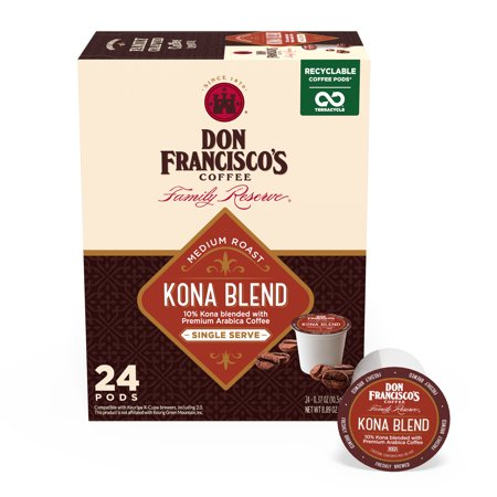 0072323051779 - DON FRANCISCO'S KONA BLEND, RECYCLABLE K-CUP COFFEE PODS, MEDIUM ROAST, 24 CT.