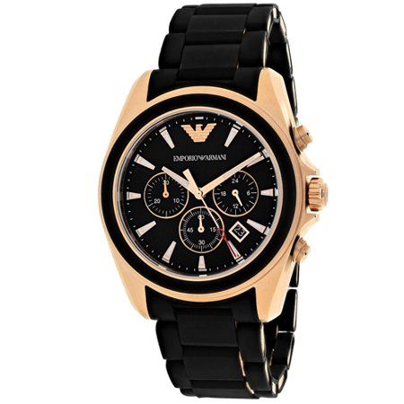 0723763231954 - EMPORIO ARMANI MEN'S AR6066 SPORTIVO ROSE GOLD-TONE STAINLESS STEEL WATCH WITH BLACK RUBBER BAND