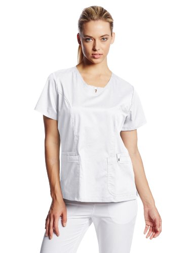 0724841212957 - CHEROKEE WOMEN'S SCRUBS LUXE JR. FIT V-NECK TOP, WHITE, X-SMALL