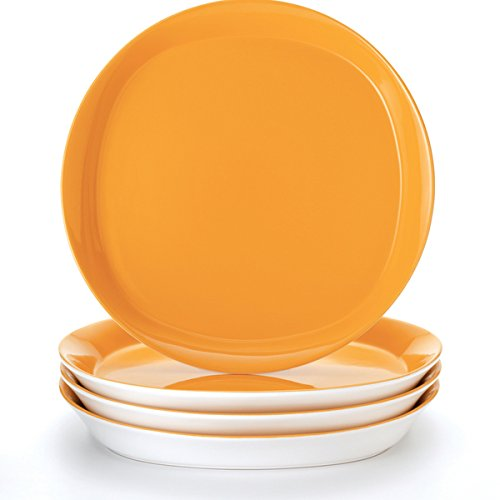 """0726088039182 - RACHAEL RAY ROUND AND SQUARE """"LEMON ZEST' 4-PIECE DINNER PLATE SET"""