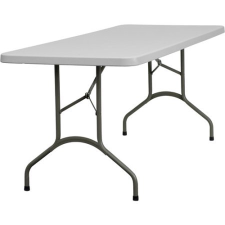 """0726088201800 - INDOOR OUTDOOR FLASH FURNITURE 30"""" X 72"""" PLASTIC FOLDING TABLE, STAIN-RESISTANT WHITE TABLE TOP"""