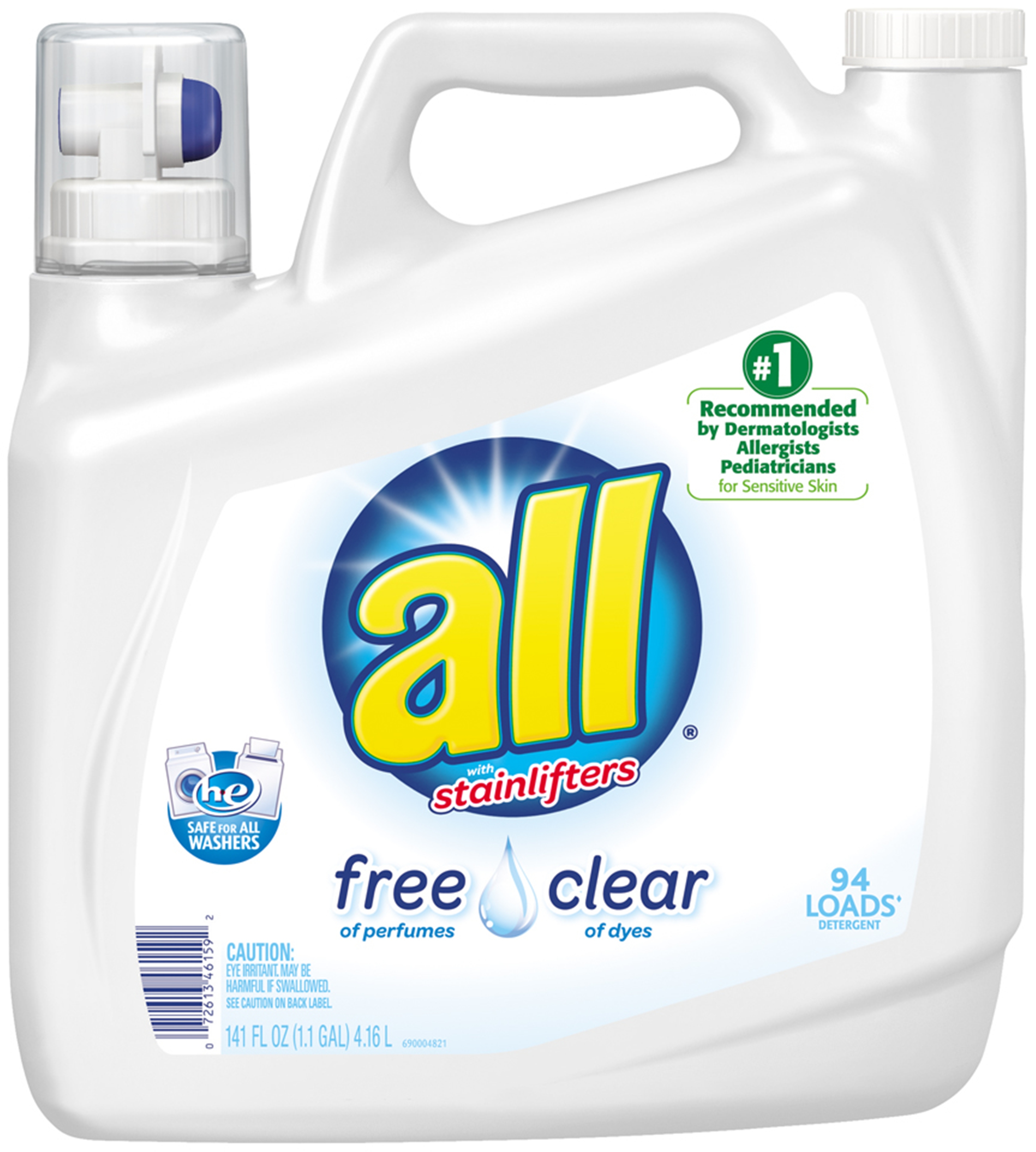 0072613461592 - ALL FREE CLEAR WITH STAINLIFTERS LIQUID LAUNDRY DETERGENT, 141 FL OZ/94 LOADS