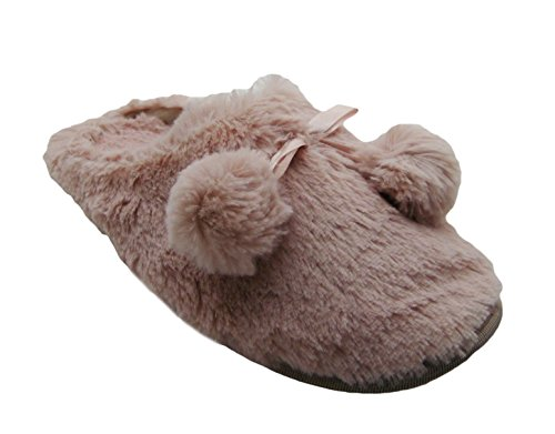 0727363365118 - FLUFFY FURRY POMPOM HOUSE SLIPPERS IN CLASSY COLORS FOR WOMEN (7, PINK CHAMPAGNE)