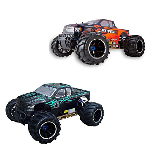 0730750980009 - REDCAT RAMPAGE MT V3 GAS TRUCK 2-PACK, GREEN/FLAME AND ORANGE/FLAME BUNDLE, 1/5 SCALE