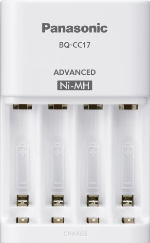 0073096902275 - PANASONIC BQ-CC17SBA ENELOOP ADVANCED INDIVIDUAL BATTERY CHARGER WITH 4 LED CHARGE INDICATOR LIGHTS, WHITE