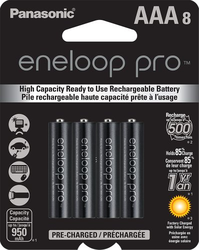 0734911380875 - PANASONIC BK-4HCCA8BA ENELOOP PRO AAA NEW HIGH CAPACITY 950MAH TYPICAL NI-MH PRE-CHARGED RECHARGEABLE BATTERIES, PACK OF 8
