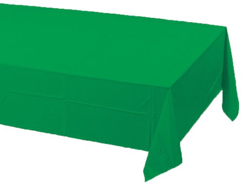 0073525819327 - CREATIVE CONVERTING TOUCH OF COLOR PLASTIC LINED TABLE COVER, 54 BY 108-INCH, EMERALD GREEN