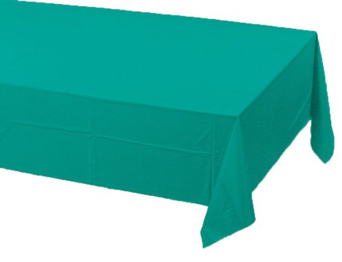 0073525819556 - CREATIVE CONVERTING TOUCH OF COLOR PLASTIC LINED TABLE COVER, 54 BY 108-INCH, TROPICAL TEAL
