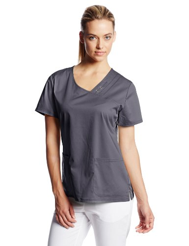 0737314496662 - CHEROKEE WOMEN'S SCRUBS LUXE CROSSOVER V-NECK PIN TUCK TOP, PEWTER, X-SMALL