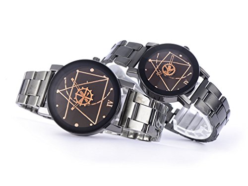 0738470578230 - GLAM HOBBY COUPLE WATCHES QUARTZ WRISTWATCHES FOR LOVERS PAIR IN PACKAGE STAINLESS STEEL BAND