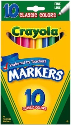 0741655442844 - CRAYOLA MARKER CLASSIC COLOR FINE LINE, 10-COUNT (3-PACK)