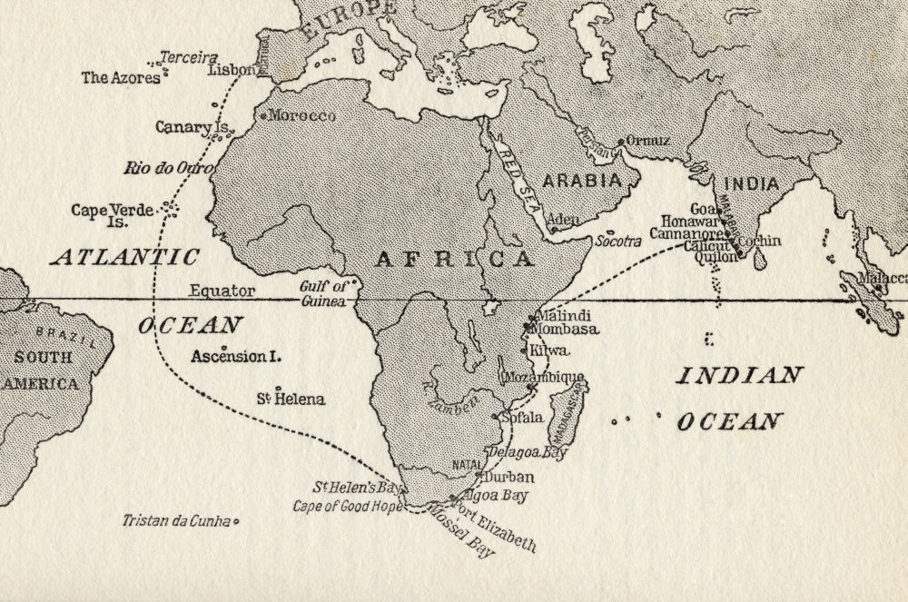 7430041236251 - SKETCH MAP ILLUSTRATING VASCO DA GAMA'S VOYAGES THE DOTTED LINE INDICATES THE FIRST VOYAGE TO INDIA IN 1497 FROM THE G 3