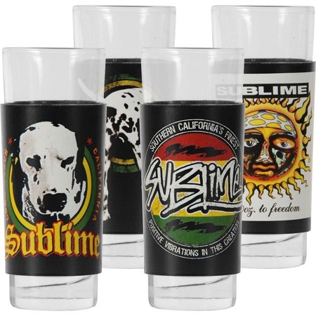 0746839037687 - ICONIC CONCEPTS 4 PIECE SUBLIME SHOT GLASS SET WITH FULL COLOR PRINTED REMOVEABLE ALUMINUM SLEEVES IN TIN