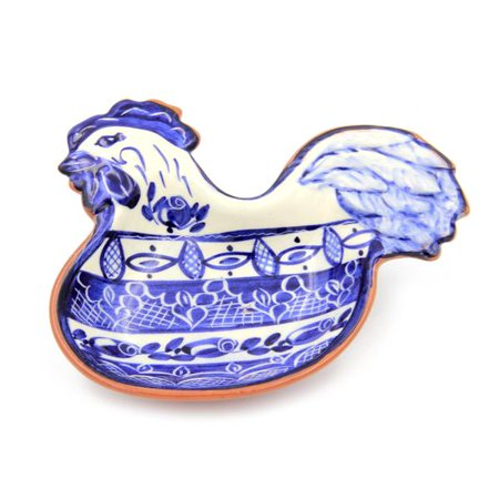 0747356427593 - HAND-PAINTED VINTAGE TRADITIONAL PORTUGUESE TERRACOTTA ROOSTER OLIVE DISH