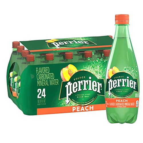 0074780777285 - PERRIER PEACH FLAVORED CARBONATED MINERAL WATER, 16.9 FL OZ. PLASTIC BOTTLES (24 COUNT)