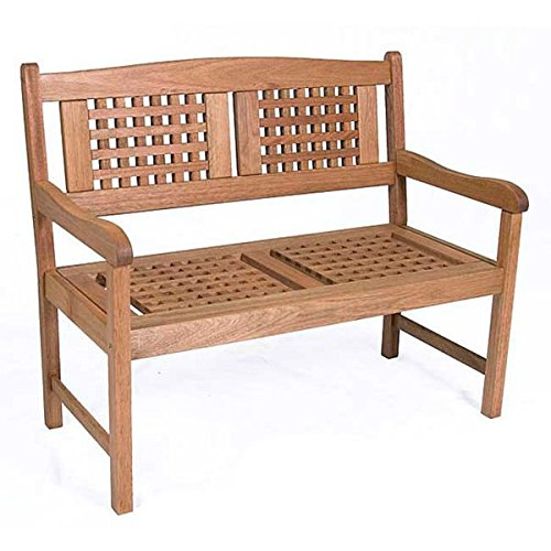 0747865084485 - OUTDOOR BENCH- 2-SEATER BENCH, WATER RESISTANT EUCALYPTUS WOOD POLISTEN FINISH AND EUCALYPTUS CONSTRUCTION (35 IN. H X 42 IN. L X 23 IN. W) ASSEMBLY REQUIRED