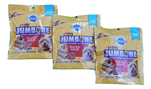 0748774477689 - PEDIGREE MINI JUMBONE BEEF FLAVOR TREATS FOR ADULT DOGS, 10-COUNT 6.34 OZ. BAG (PACK OF 3)