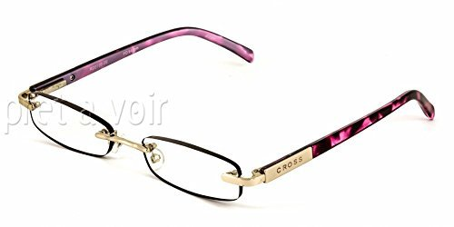 7501349874152 - CROSS ELITE GEORGINA 1.00 DIOPTER PURPLE TORTOISE AND SILVER RIMLESS READING GLASSES (1.00 STRENGTH)