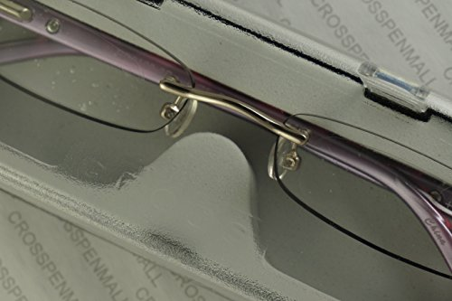 7501349882140 - CROSS ELITE GEORGINA 1.75 DIOPTER PURPLE TORTOISE AND SILVER RIMLESS READING GLASSES (1.75 STRENGTH)
