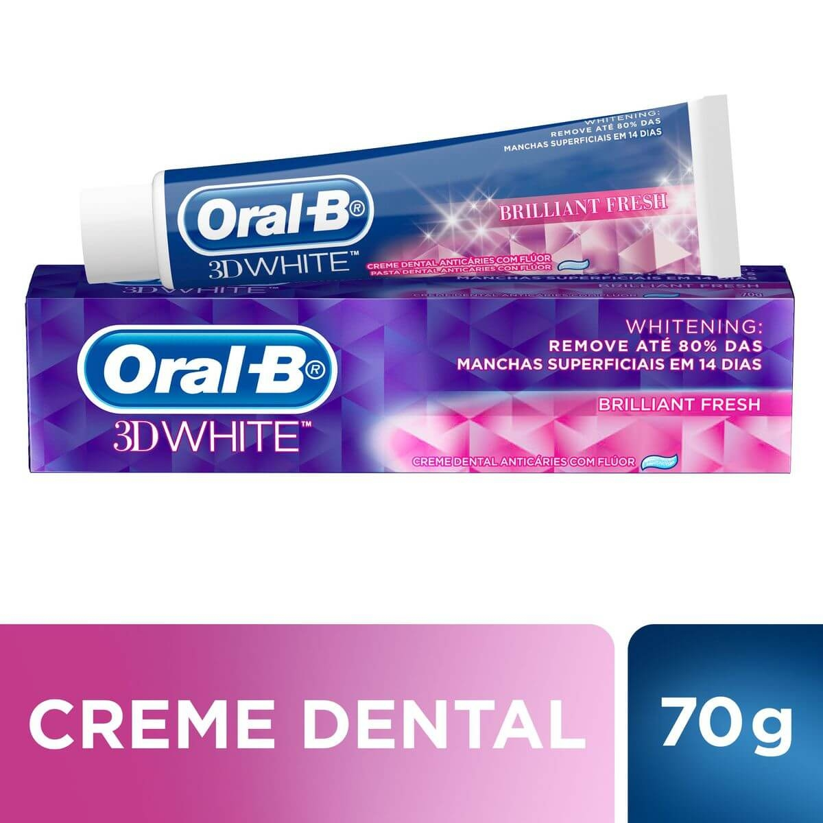 7506295388487 - CREME DENTAL ORAL-B 3D WHITE BRILLIANT FRESH CAIXA 70G