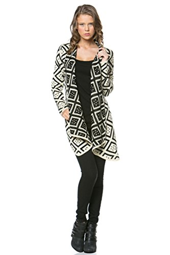 0753807481953 - WOMEN'S AZTEC - GEOMETRIC PRINT LONG SLEEVE CHUNCKY OPEN CARDIGAN (SMALL, BLACK & CREAM)