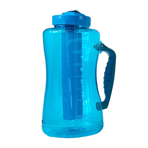 0755563138652 - COOL GEAR EZ FREEZE 64 OUNCE WATER BOTTLE WITH FREEZER STICK AND HANDLE - HOLDS 1/2 GALLON - DISHWASHER SAFE (BLUE)