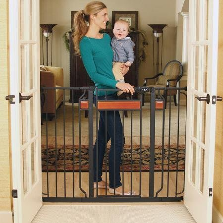 0757104190402 - REGALO HOME ACCENTS BLACK 38 INCHES EXTRA-TALL BABY GATE WITH 2 INCLUDED EXTENSION KITS
