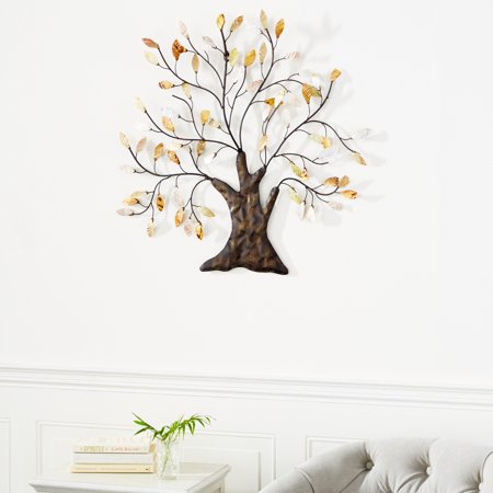 "0758647130740 - DECMODE - 30"" X 29"" METAL TREE WALL ART TRADITIONAL HOME DECOR W/ CAPIZ SHELL LEAVES"