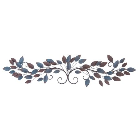 0758647632817 - DECMODE NATURAL 12 X 51 INCH METAL WIRE AND LEAVES WALL SCULPTURE