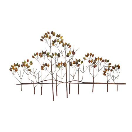 0758647979851 - DECMODE TRADITIONAL 24 X 39 INCH MULTICOLORED METAL TREE LANDSCAPE WALL DECOR
