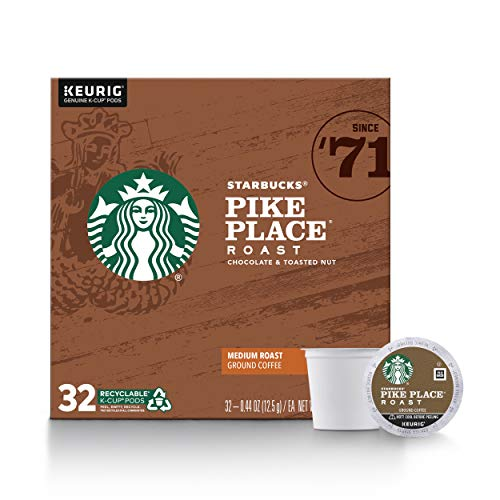 0762111261656 - STARBUCKS MEDIUM ROAST K-CUP COFFEE PODS — PIKE PLACE ROAST FOR KEURIG BREWERS — 1 BOX (32 PODS)