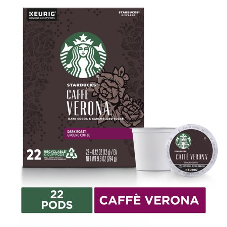 0762111301819 - STARBUCKS CAFFE VERONA DARK ROAST SINGLE CUP COFFEE FOR KEURIG BREWERS BOX OF 22 K-CUP PODS