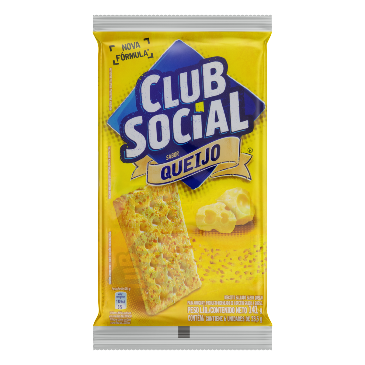 7622210644534 - PACK BISCOITO QUEIJO CLUB SOCIAL PACOTE 141G 6 UNIDADES