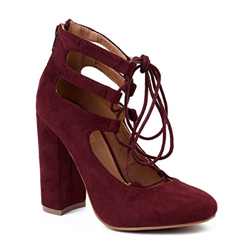 0762432186096 - YOKI SUDE BLOCK HEEL LACE UP CUT OUT ANKLE WRAPPED DRESS PUMPS BORDEAUX COLOR