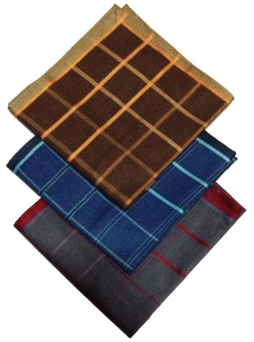 0763616705065 - (HK0014) BROWN BLUE GREY TARTAN 17 SQUARE MEN'S COTTON PLAID HANDKERCHIEFS SET OF 3
